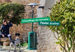 Les chauffages de terrasse Favex Ecoline qui consomme 30% de moins de CO2 et de gaz