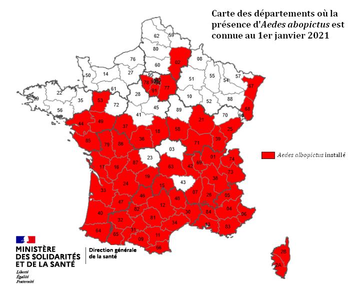 Carte présence moustiques France 2021